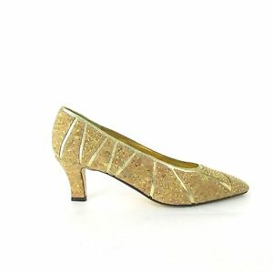 Vtg-80-039-s-J-Renee-Natural-Cork-Gold-Studded-Detailed-Heels-Tan-Gold-Size-9-M