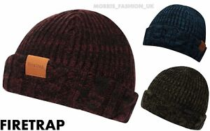 334e172e Image is loading Firetrap-Mens-Cable-Fishermans-Beanie-Hats-Winter-Warm-
