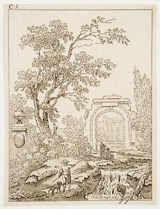 H-VAN-GOGH-18-Jh-Arkadische-Landschaft-mit-antiken-Ruinen-1792-Radierung