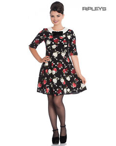 Hell-Bunny-Black-50s-Mini-Skater-Dress-SELMA-Floral-Flowers-Roses-All-Sizes