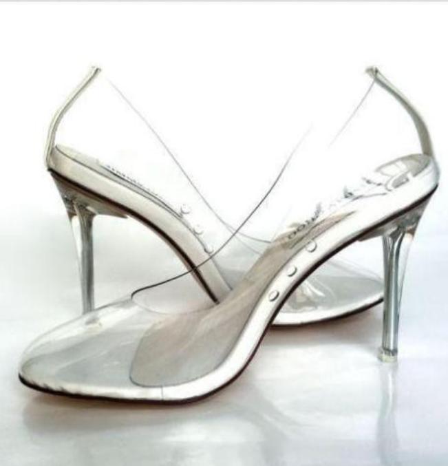 Transparent High Heel Stiletto donna Stylish Wedding Pointy Toe Slip On Classic