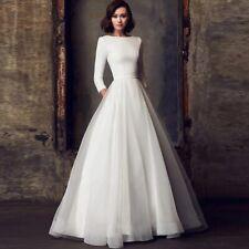 Long sleeves simple modest wedding dress elegant bohemian vintage bridal gown