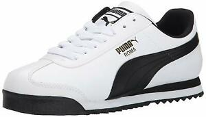 Puma-Mens-Roma-Leather-Low-Top-Lace-Up-Fashion-White-Black-Leather-Size-9-5-fN