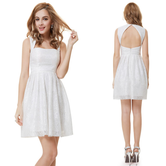 Ever Pretty Women's Fashion Casual Short Shite Lacy Cocktail Party Dress 05255
