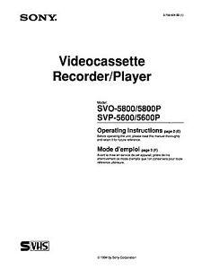 instruction operating user manual for sony svo 5800 svp 5600 svhs rh ebay com ACN SVP SVP Electronics