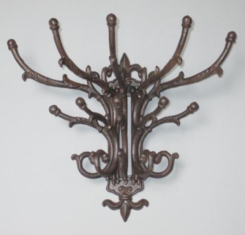 Muro guardarropa hierro fundido 5 viga 15 ganchos alzapaños perchero hierro corona nuevo