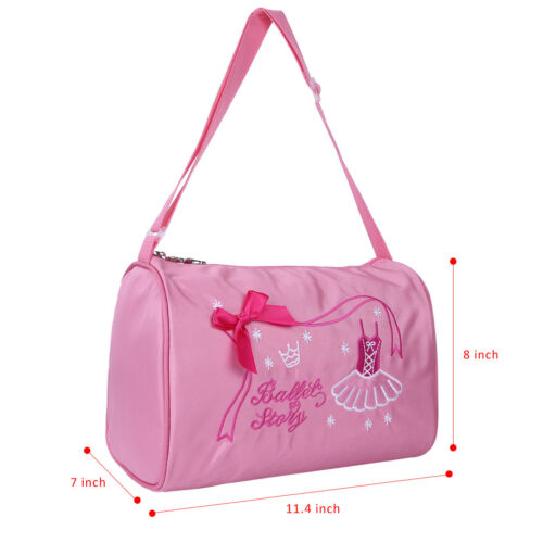 Kids Ballet Duffle Gym Shoulder Bag Dance Training Tote Bowknot Dress Embroidery