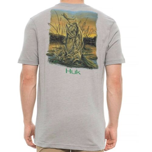 HUK Performance Fishing Gear KScott Crushed XL Gray T-Shirt $25