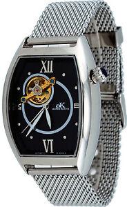 Adee-Kaye-AK6473-M-Men-039-s-Black-Dial-Open-Heart-Skeleton-Automatic-Watch