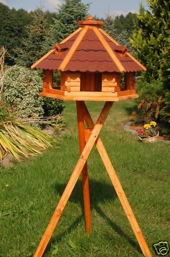 * Riesiges XXL Vogelhaus Vogelhäuser Vogelvilla mit Ständer 67x45cm Dach rot