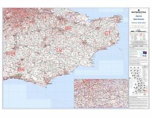 Brand New Laminated Postcode Wall Map Of Kent East Sussex England