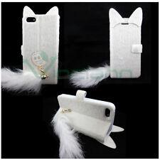 Case book Cat Pelosin plush p iPhone 5 5s stand White BOOK tail cover