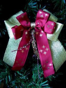 Weihnachten-4-10-Weihnachtsschleifen-Christbaum-Deko-Schleifen-goldt-amp-bordeauxrot