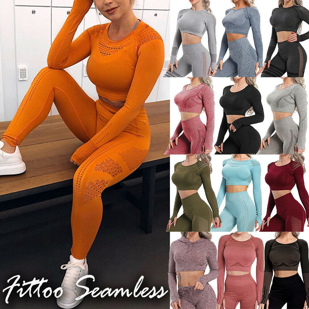 Women Long Sleeve Gym Crop Top Vital Seamless Fitness T Shirts with Thumbhole UK