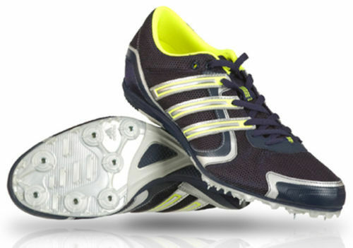 Mens Navy Yellow Lace Up Adidas Field And Track Trainers With Spikes Arriba M