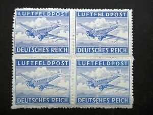 Germany Nazi 1942 1943 Stamps MINT Block Rouletted AIR POST Junkers 52 Transport