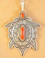 Herman Smith Navajo Sterling Silver Gem Coral Ingot Handmade Turtle Pin Pendant