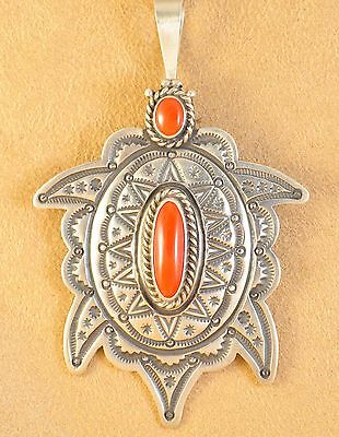 Herman Smith Navajo Sterling Silver Gem Coral Ingot Handmade Turtle Pin Pendant