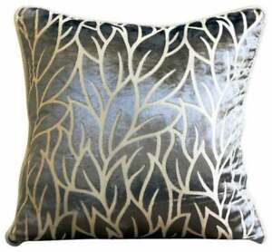 Burnout Velvet Couch Throw Paloma Gray Pillow Case Nature Floral Modern Designer Ivy Throw Pillow Cover 16x16 Paloma Grey Floral
