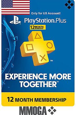 PlayStation Plus 12 Monate Months 365 Days PSN Network Key PS3 PS4 PS Vita - US