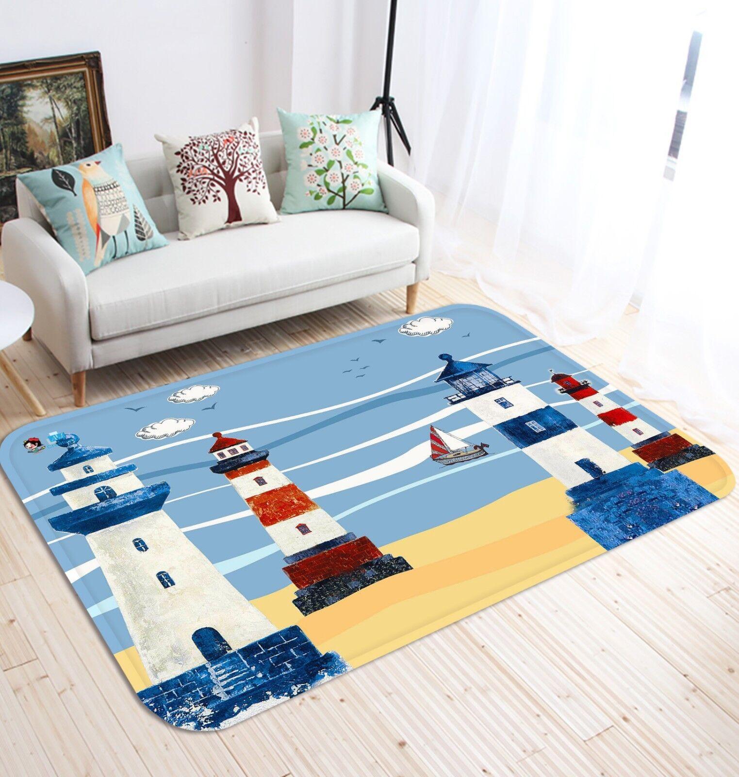 3D Ocean Ocean Ocean Lighthouse 69 Non Slip Rug Mat Room Mat Quality Elegant Photo Carpet AU 7d0cbc