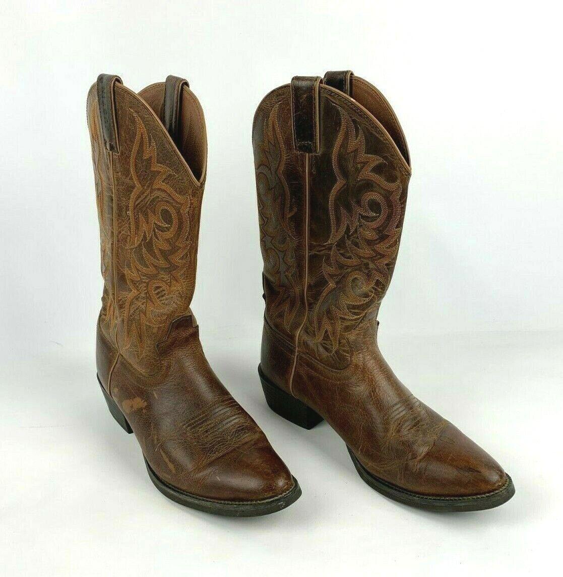 Justin Mens 10EE Stampede Brown Western Ride Work Boots 2555 Walking Dead