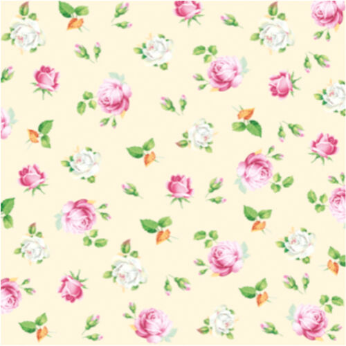 """Decoupage Small Pink and White Roses Paper Luncheon Napkins 40 pcs 13/""""x13/"""""""