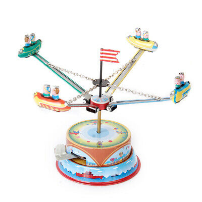 Wind Up Tin Toy Clockwork Carousel Rotating Spacecraft for Home Decor Gift