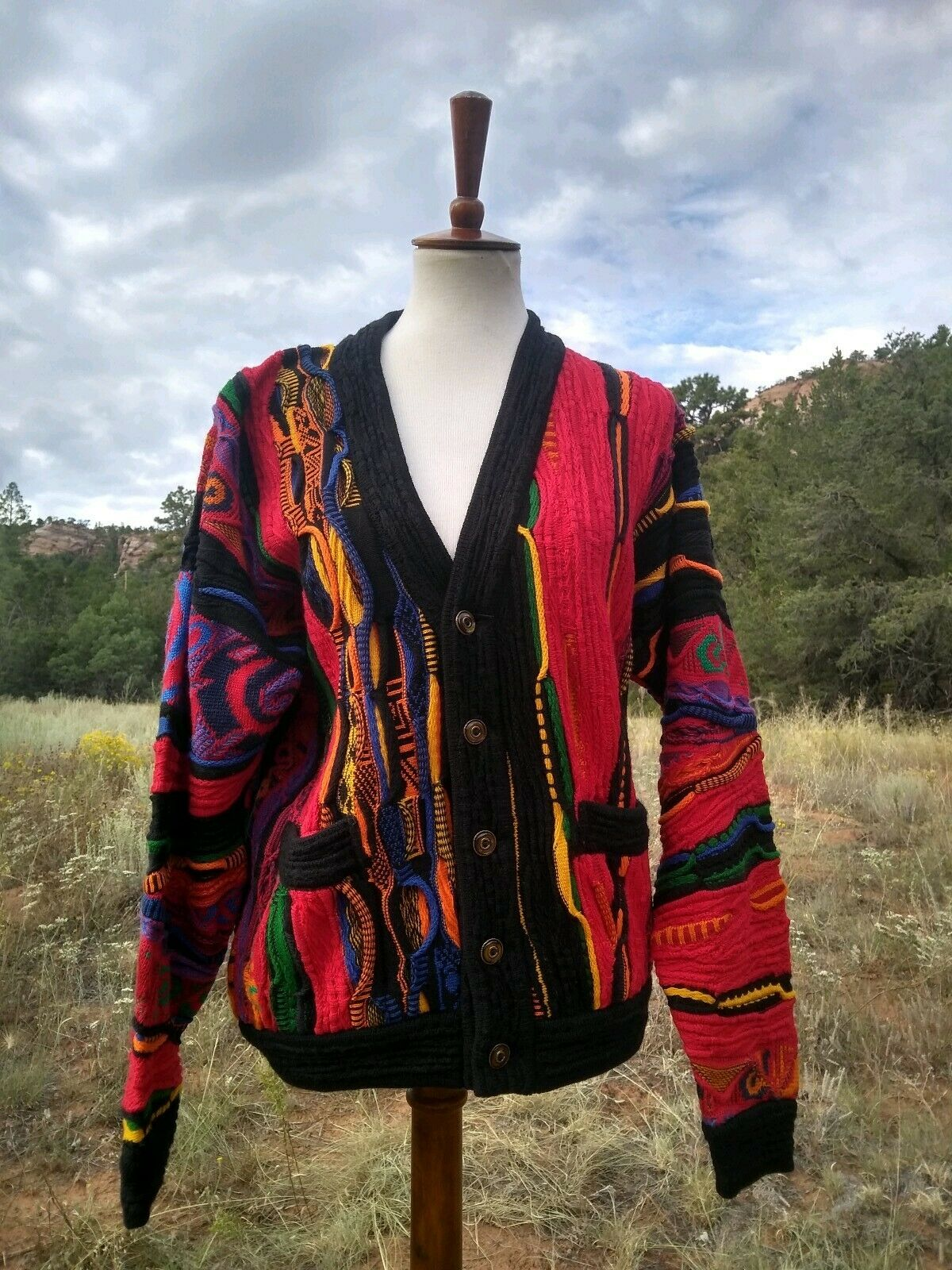 80s Coogi Cuggi Neon Vaporwave Biggie Cosby Sweater Bright Vintage, Sz S / M