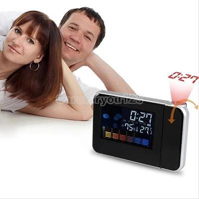 LCD Digital Home LED Projector Projection Alarm Clock Weather Station Calendar