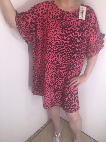 Rose robe noire imprimé léopard volantée manches glamour Convient Tailles 16-22 Neuf
