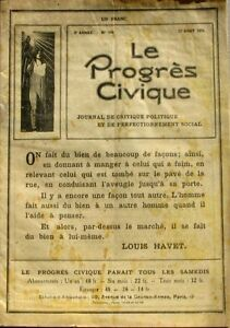 Le Progrès Civique N°106 1921 - Journal De Critique Politique Henri Dumay Rare à Tout Prix