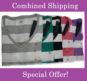 NEW-Tommy-Hilfiger-Short-sleeve-Striped-T-Shirt-For-Women-XS-S-M-L