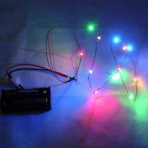 Details About 12 Lighting Color Led Christmas Lights Battery Operated Miniatures For Dollhouse