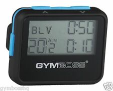 GYMBOSS INTERVAL TIMER AND STOPWATCH BLACK / BLUE SOFTCOAT FROM GYMBOSS HQ