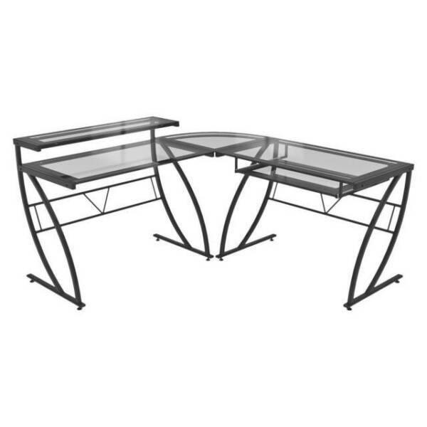 Z Line Designs Feliz L Shape Desk Black Clear For Sale