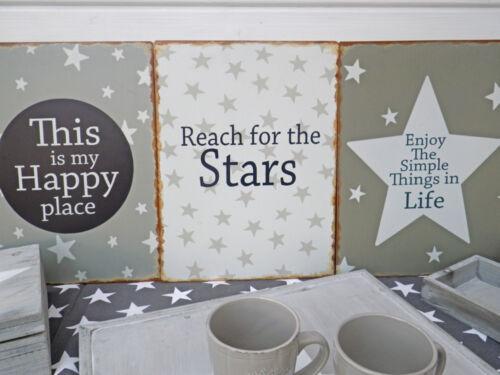 Plaque métallique Reach for the Stars Déco Bouclier Vintage Image Tôle Panneau 30x40 cm