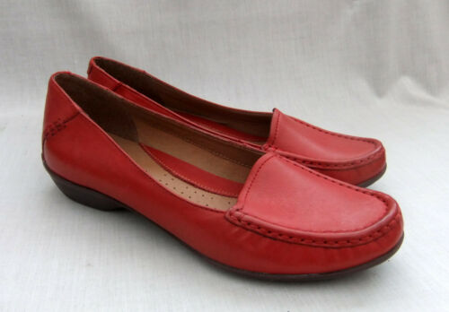 NEW CLARKS ACTIVE AIR GILDED OPAL WOMENS RED LEATHER SHOES