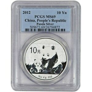 Brand New 2012 Chinese Silver Panda 1oz PCGS MS69 Graded Silver Coin