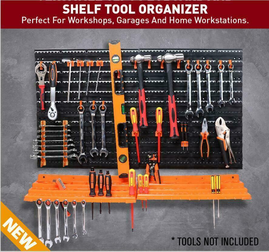 Wall Mounted Pegboard Tool Organiser & Storage Panel Rack Kit Garage Workshop UK