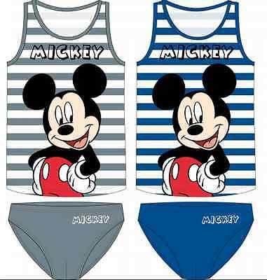 Mickey Mouse Unterwäsche Set Garnitur 92 98 104 110 116 122 Slip Junge Hemd Neu