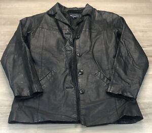 Details about Brenda Los Angeles Women's Leather Jacket Size L Large Fitted Long No Hood Black