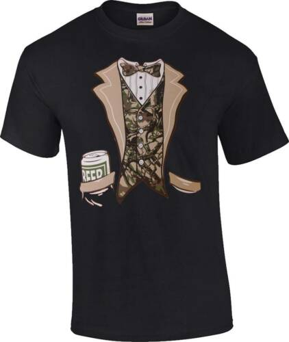Funny Redneck Camo Tuxedo T-Shirt Beer Drinking Camouflage Tux Tee