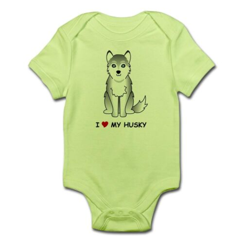 234033372 CafePress Grey Siberian Husky Infant Bodysuit Baby Bodysuit