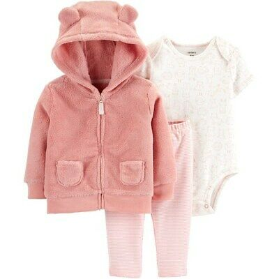 Carter/'s Baby Girl Fuzzy White Hoodie w// Ears /& Metallic Legging 2pc Set NWT $24