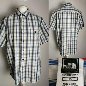North-Face-Chemise-homme-bleu-blanc-carreaux-manches-courtes-Casual-Bouton-Large-L