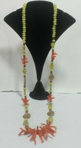 Olive jade long strand necklace