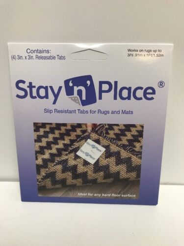 Skid-Resistant Non Slip Tabs Rug Gripper Mat Releasable Tape Stay N Place 4 pk