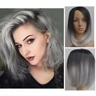Women Short Grey Wig Heat Resistant Straight Full Black Ombre Hair Cosplay 28CM