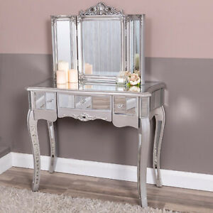 Details About Silver Mirrored Dressing Table Triple Ornate Mirror Venetian Gl Chic Bedroom